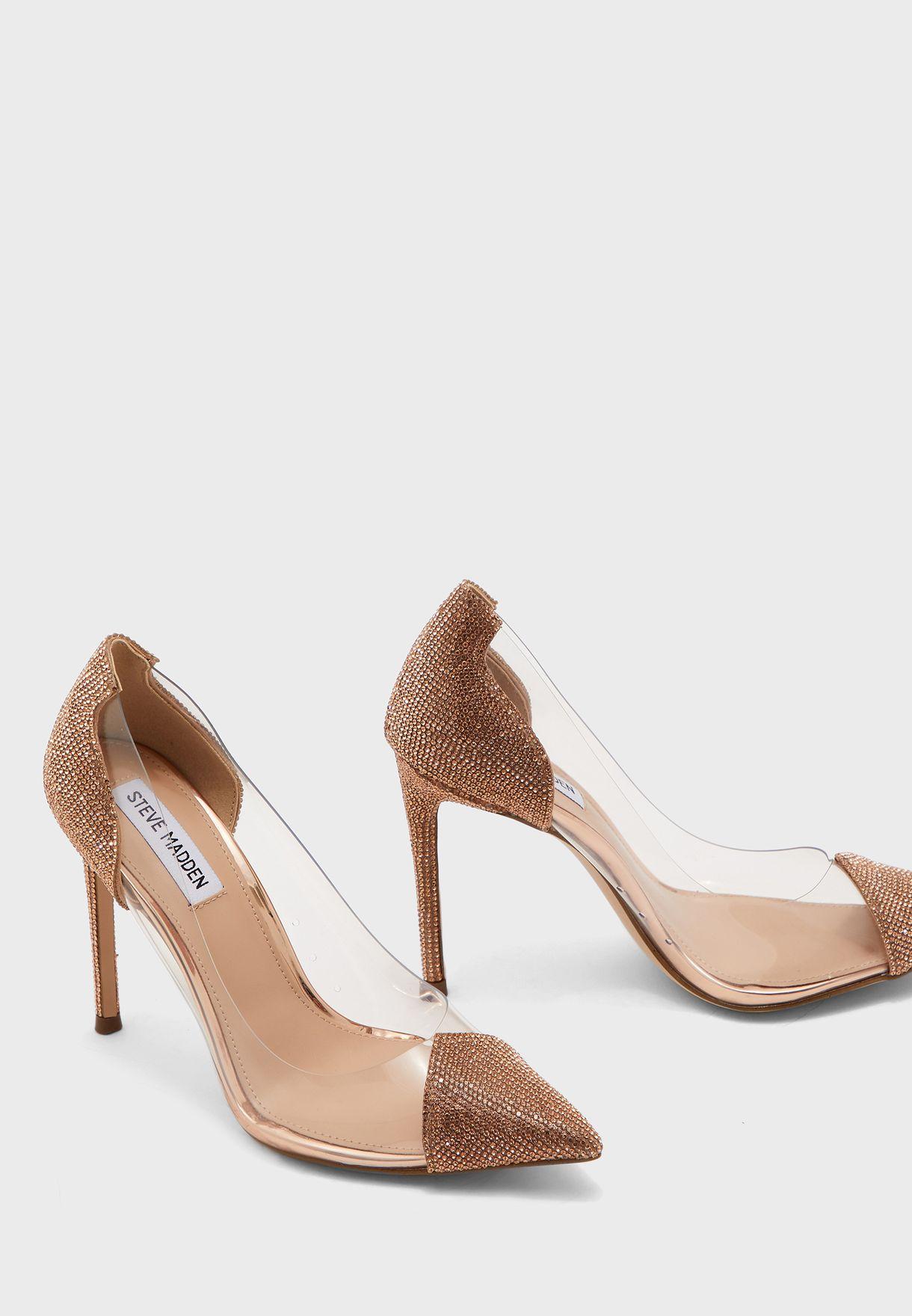 حذاء شفاف باحجار الراين