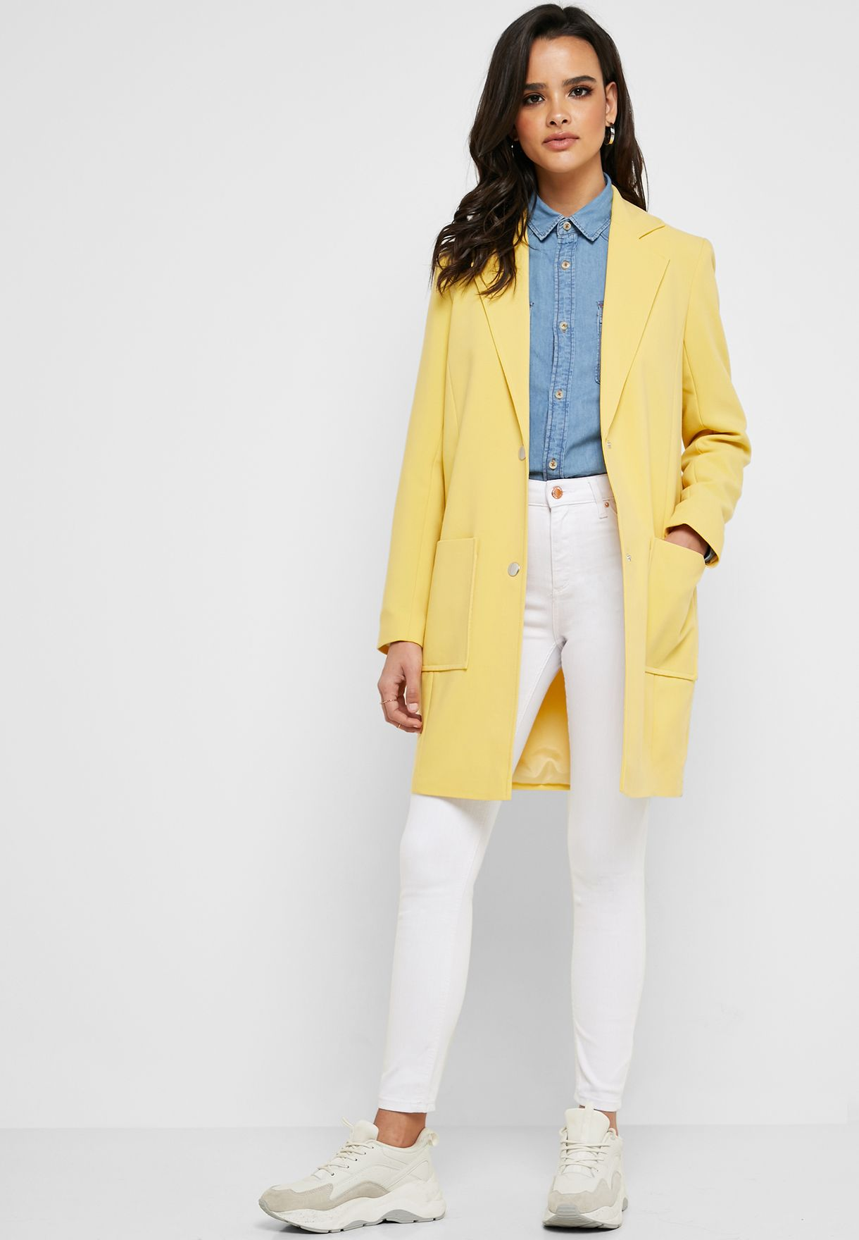 Button Detail Duster Coat