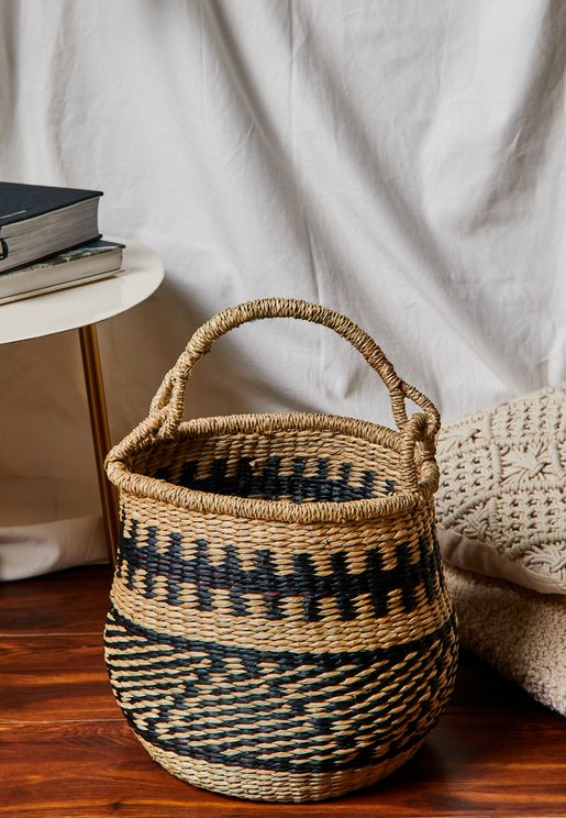 Seagrass Round Basket With Handle