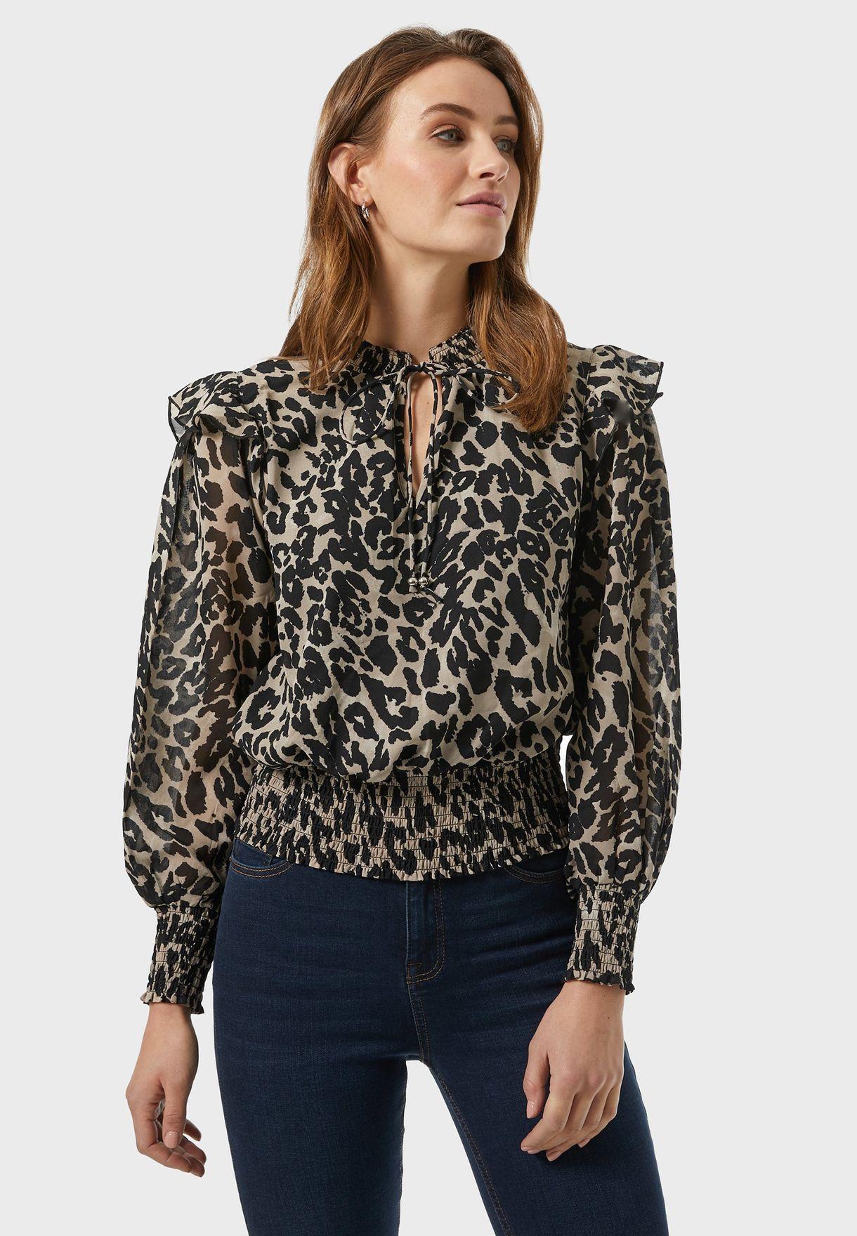 Leopard Tie Neck Top