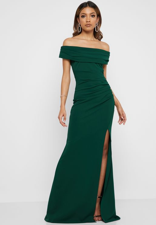 df461960fe1 Bardot Ruched Fishtail Maxi Dress