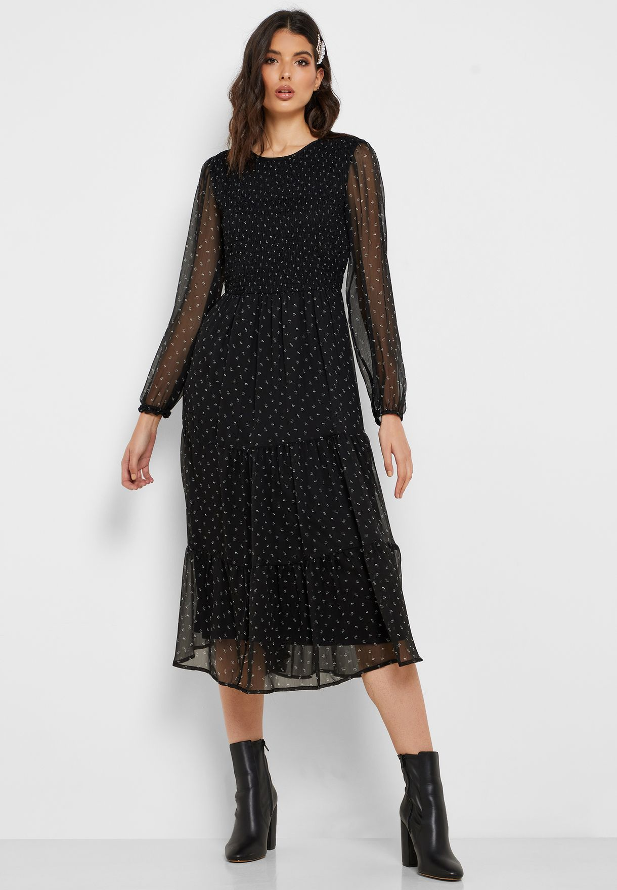 Printed Mesh Sleeve Dress