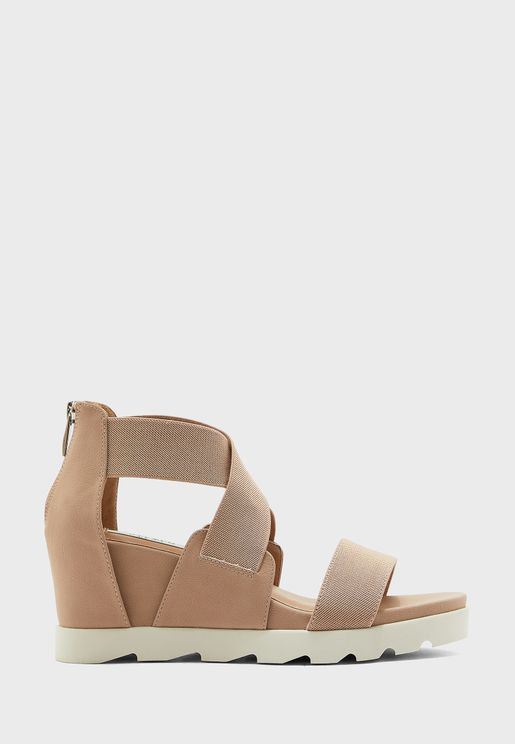 Sheli Zip Detail Wedge Sandal