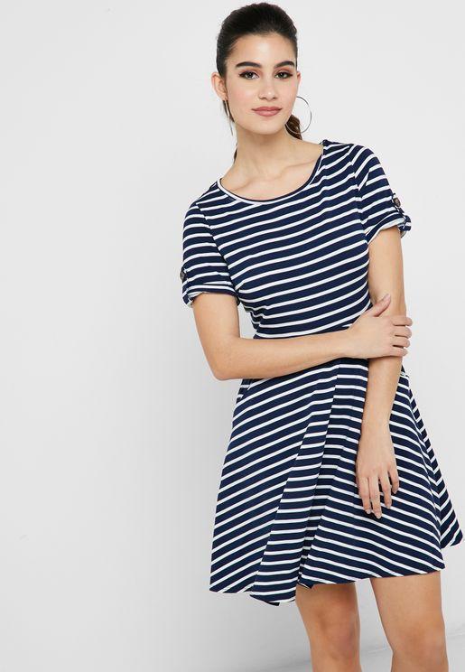 Stripe Jersey Fit & Flare Dress