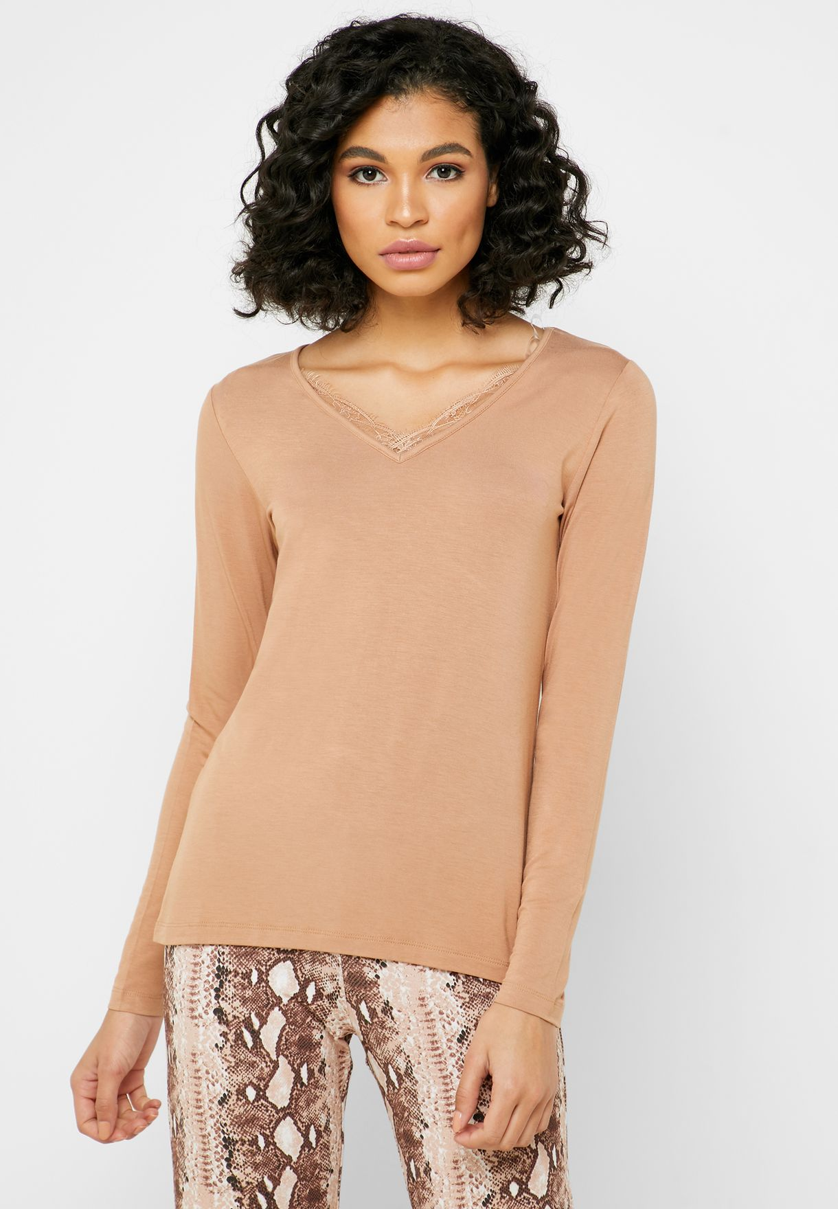 Lace Trim T-Shirt & Snake Print Pyjama Set