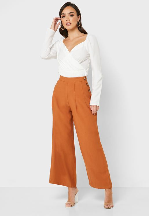 Wide Leg Side Button Pants
