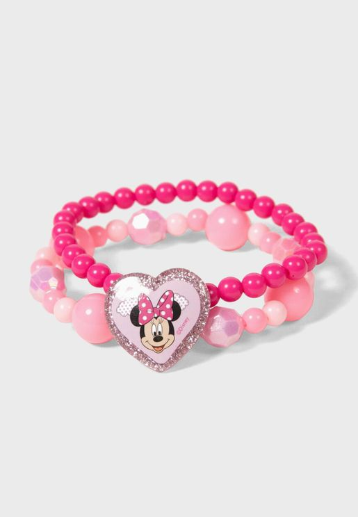 Kids Minnie Mouse Beaded Bracelet