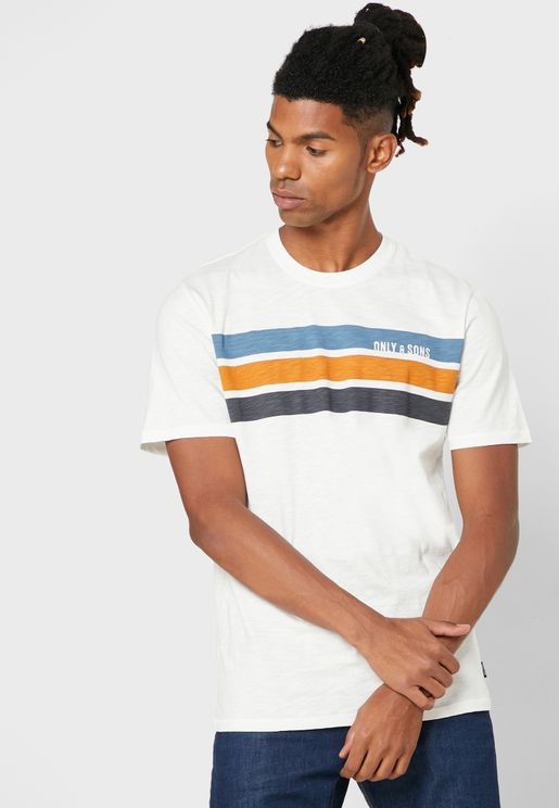 Chest Stripe Regular Fit Crew Neck T-Shirt