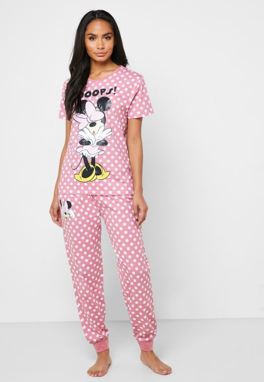 Minnie Printed Polka Dot T-Shirt & Pyjama Set