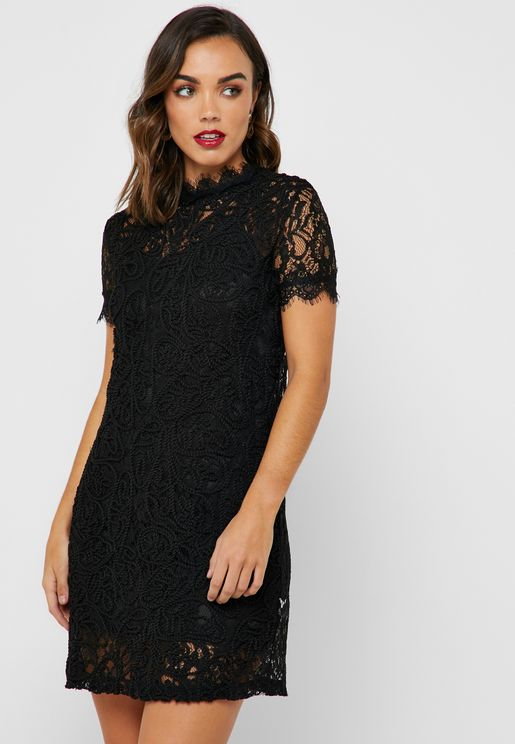 4f5ea401d0b High Neck Lace Mini Dress