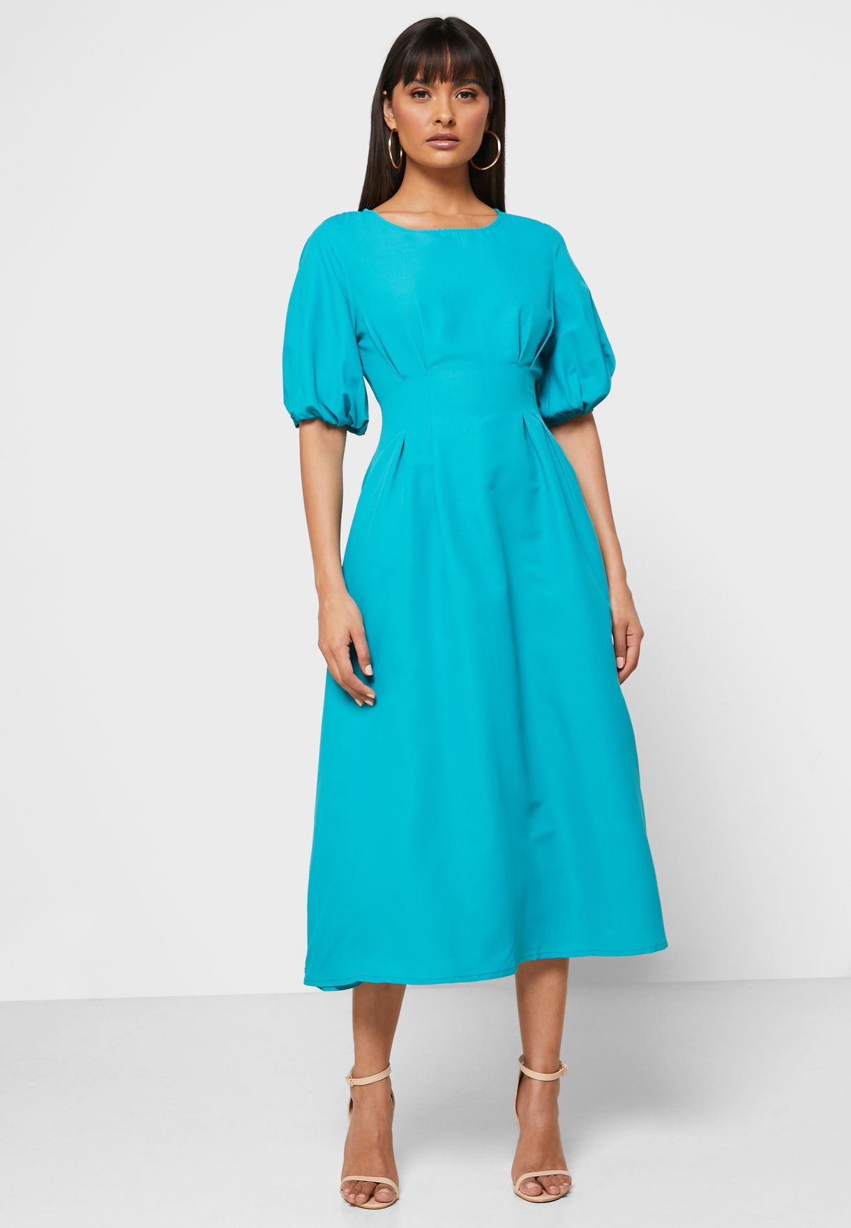 Puffed Sleeve Midi Dress