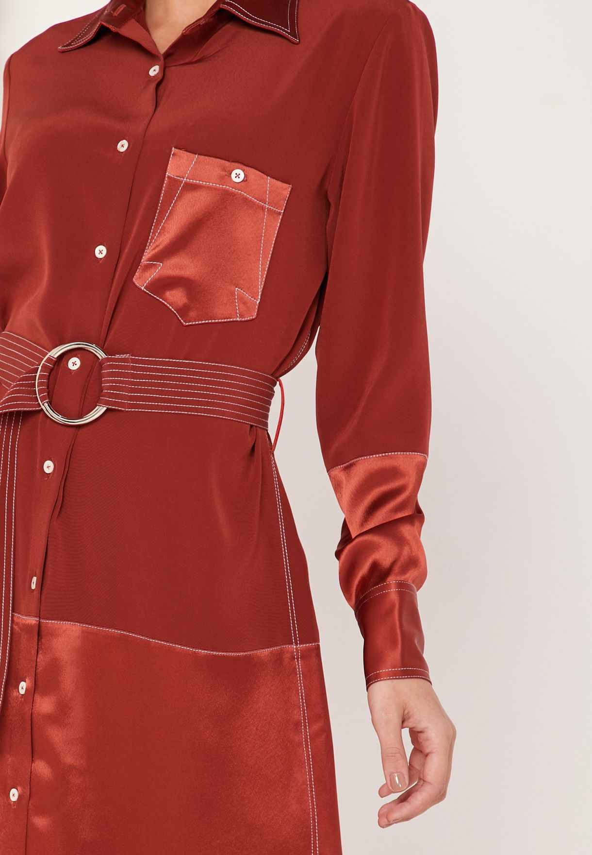 Medina Belted Maxi Shirt Dress