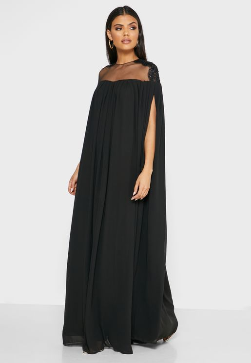 Mesh Detail Cape Dress
