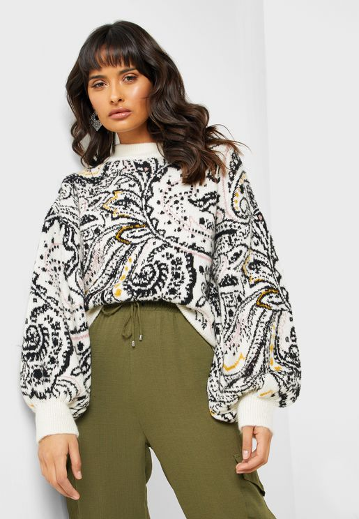 Paisley Print Ribbed Detail Sweater