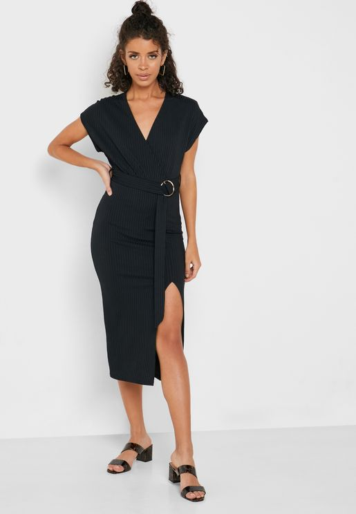 Ribbed Surplice Dress