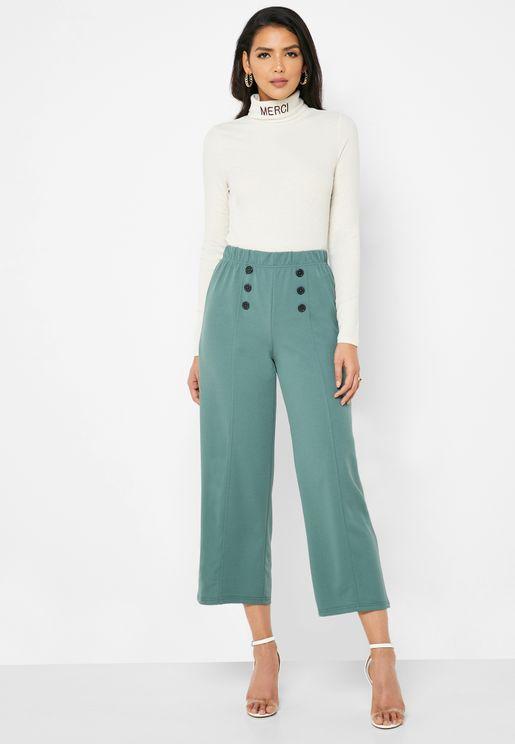 Button Detail Wide Leg Pants