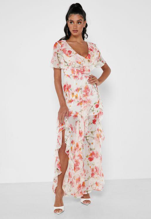 فستان بياقة V مزين بطبعات ازهار