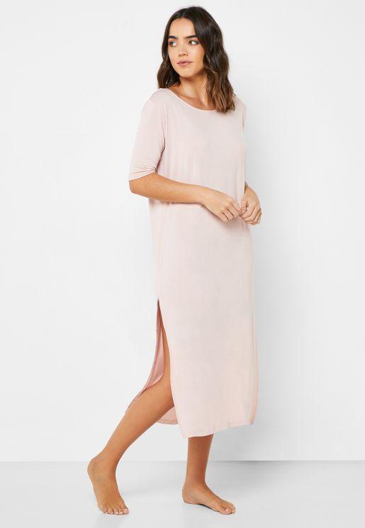 Side Slit Low Back  Nightdress
