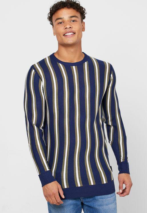 Collard Striped Sweater