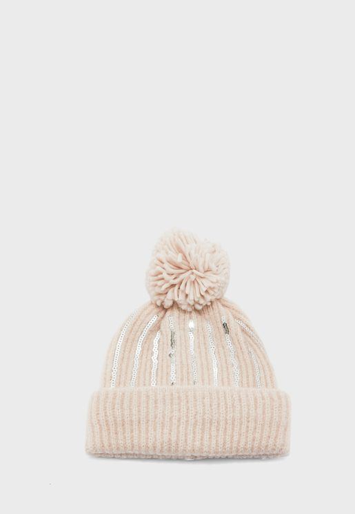 Teen Knitted Sequin Pom Pom Beanie