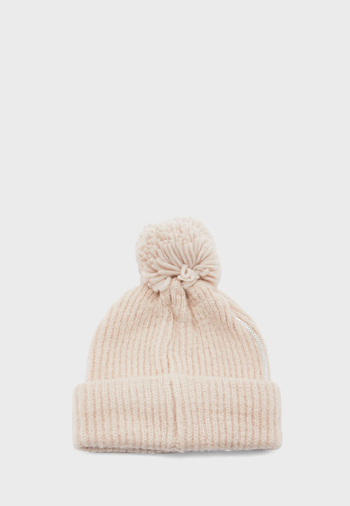Teen Knitted Sequin Pom Pom Beanie