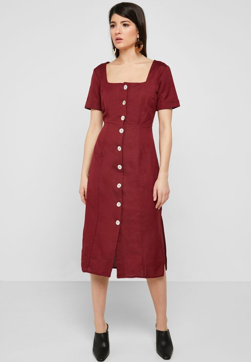Square Neck Button Down Dress
