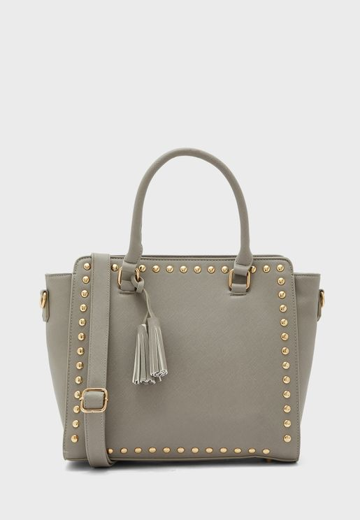 Studded Trim Detail Tote Bag
