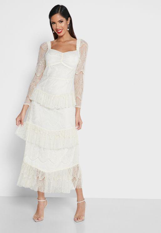 Mesh Sleeve Layered Dress