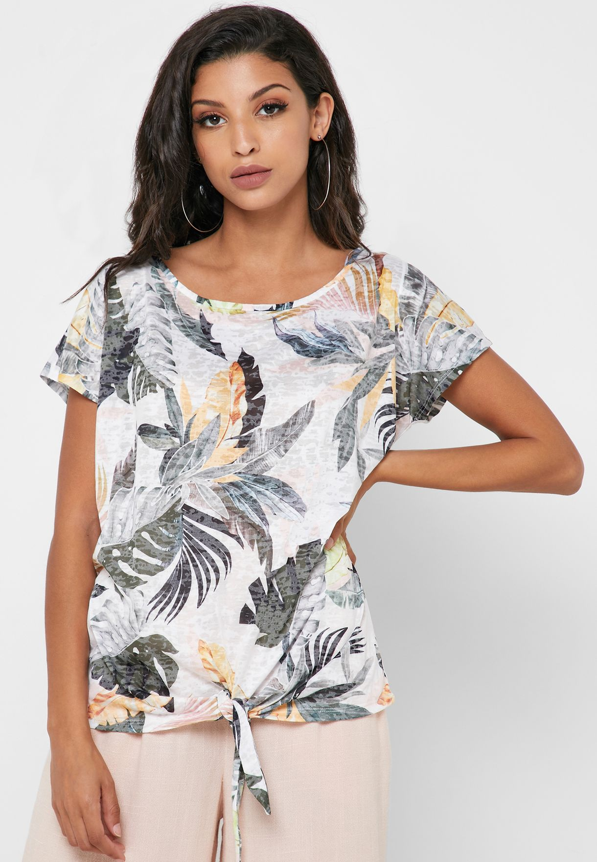 Front Tie Palm Print Top