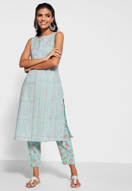 Cotton Boatneck Kurta with Printed Pants