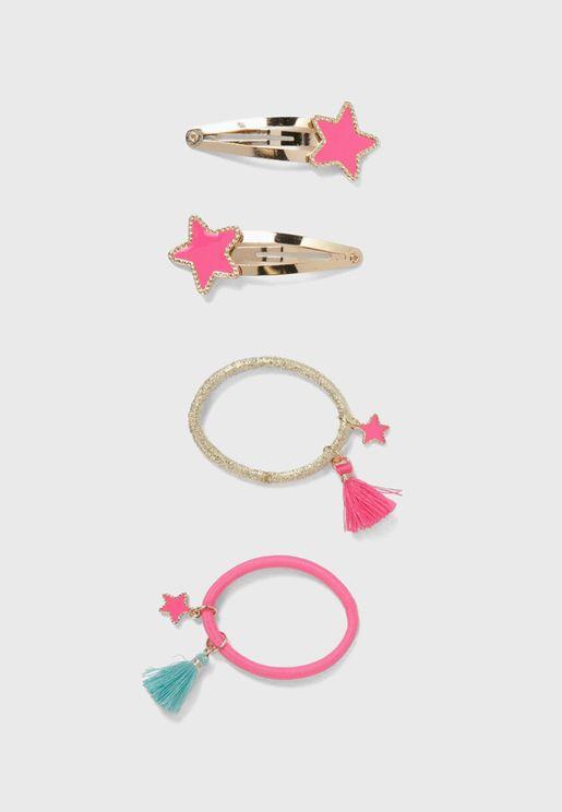 Kids 2 Pack Starfish Detail Hairclip + Hairband Set