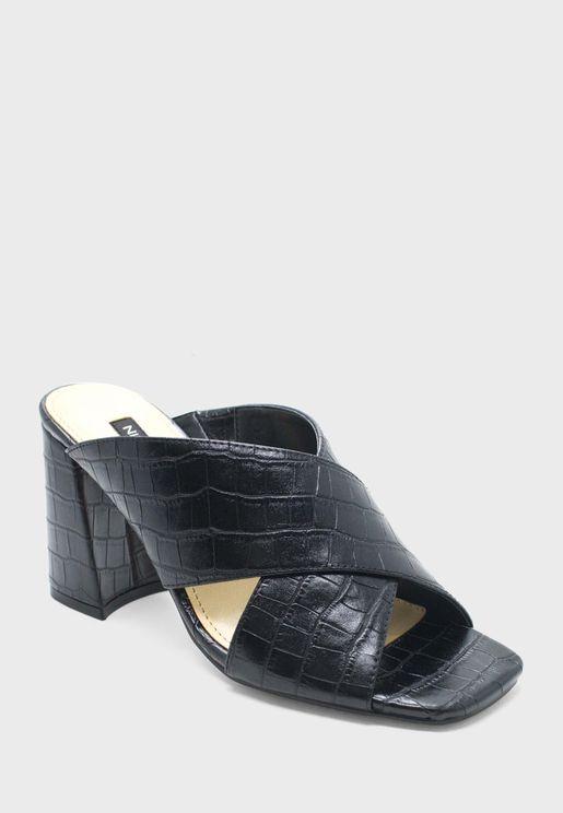 Gigi Cross Strap Block Heel Sandals