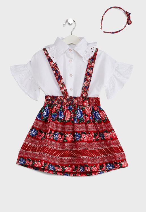 Puffed Sleeve Shirt Pinafore Dress