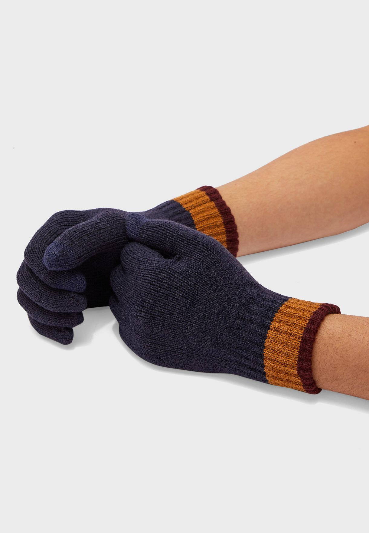 MENS TOUCH SCREEN GLOVES WITH STRIPED CUFF