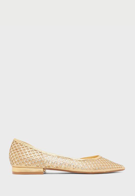 حذاء باليرينا مزين بالاحجار