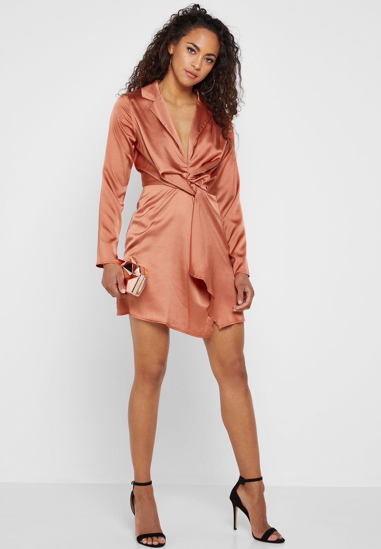 f72ab636f3 Shop Missguided orange Slinky Plunge Wrap Shift Dress DE925152 ...