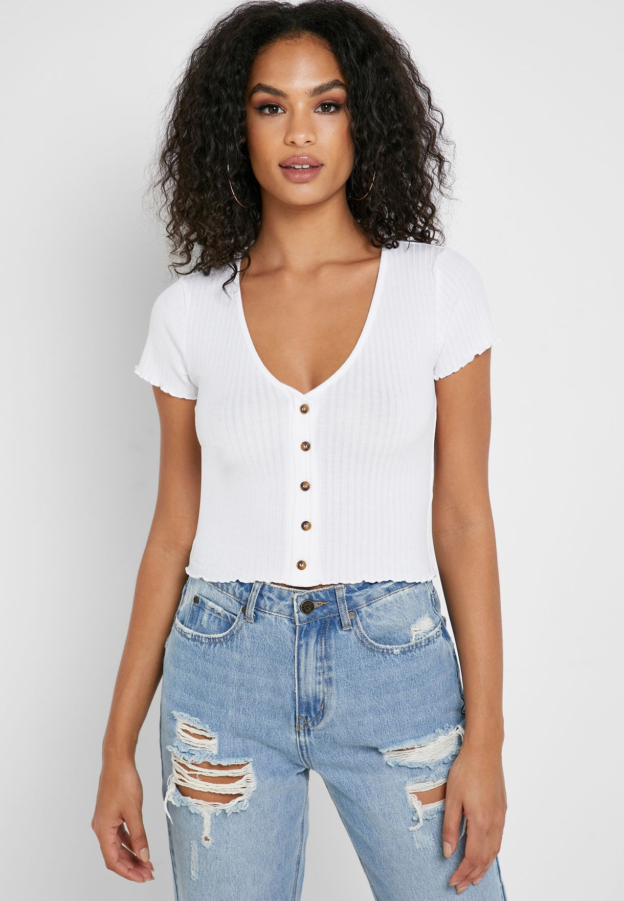7f3e925255dbd2 Shop Forever 21 white Button Down Ribbed Crop Top 336942 for Women ...