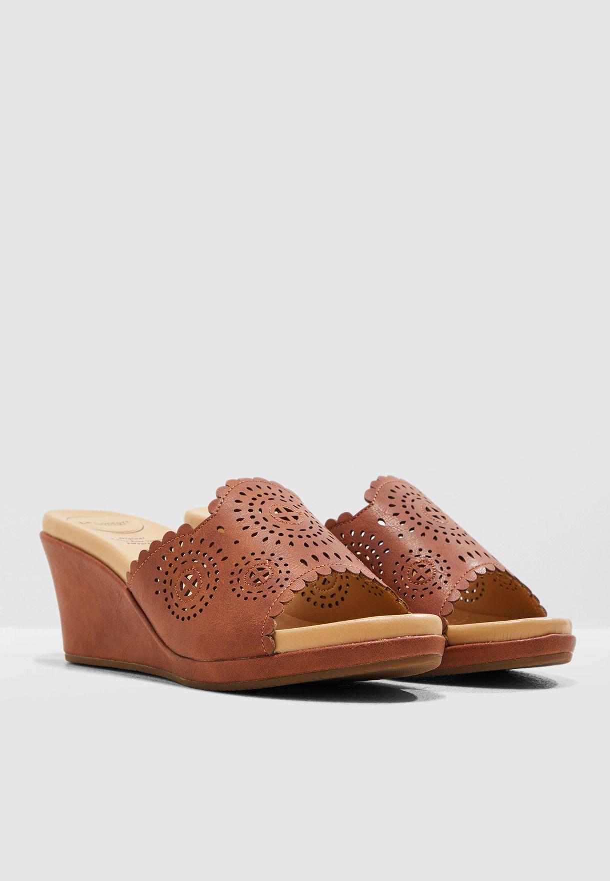 Printed Wedge Sandal