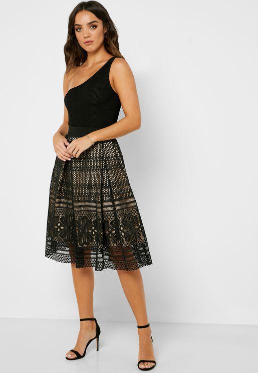 Lace Detail Midi Skirt