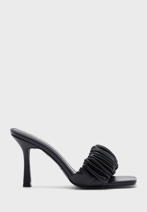 Ruched Strap Square Toe Stiletto Sandal