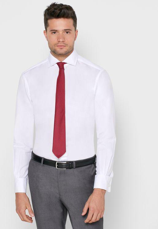 Cutaway Collar Double Cuff Slim Fit Shirt