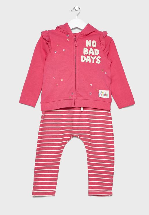 Infant Embroidered Hoodie + Striped Legging Set