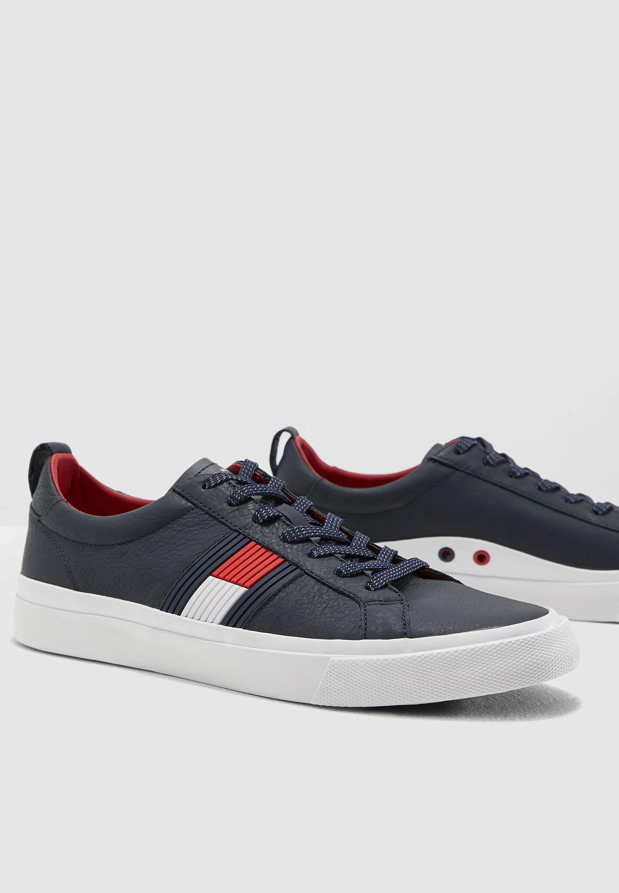 2d38b46bf884 Shop Tommy Hilfiger navy Flag Detail Leather Sneaker FM0FM01712403 for Men  in Qatar - 12232SH78IKP