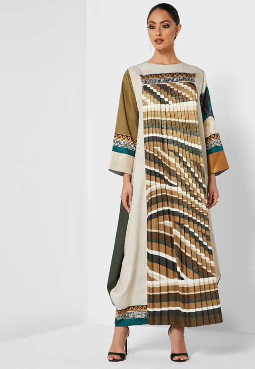 Printed Pleated Abaya