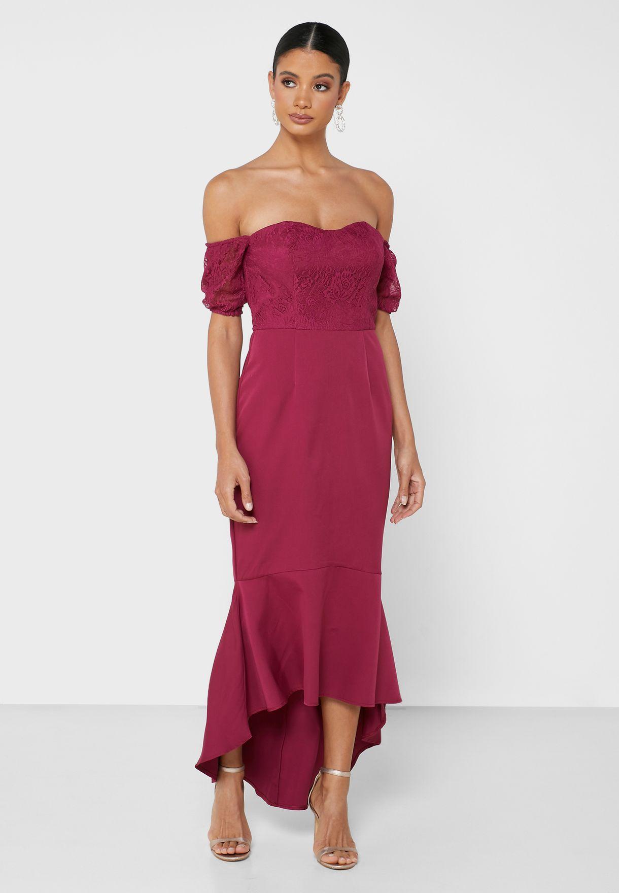 Suzy Ruffle Trim Off Shoulder Dress