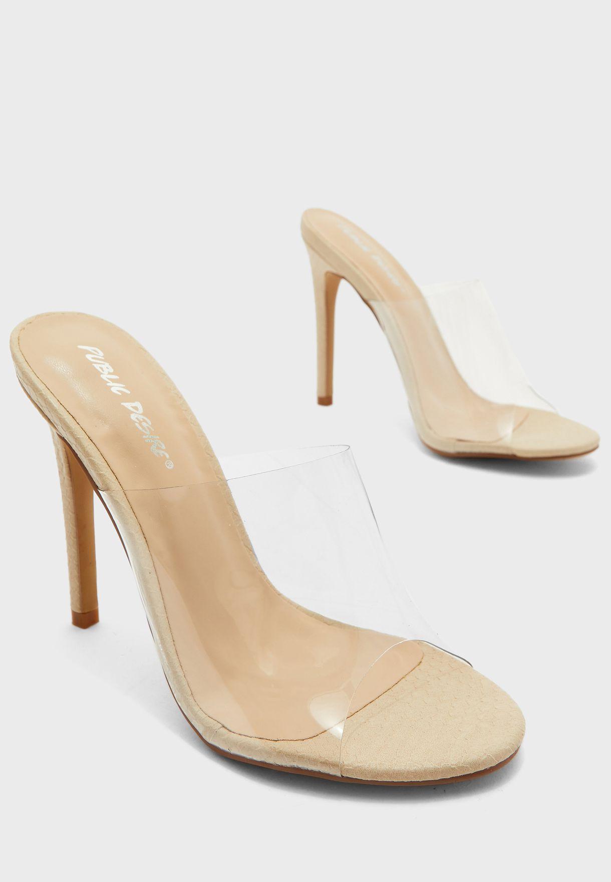 Wide Transparent Strap High Heel Sandal