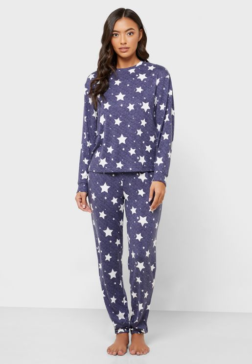 Star Print Top & Pyjama Set