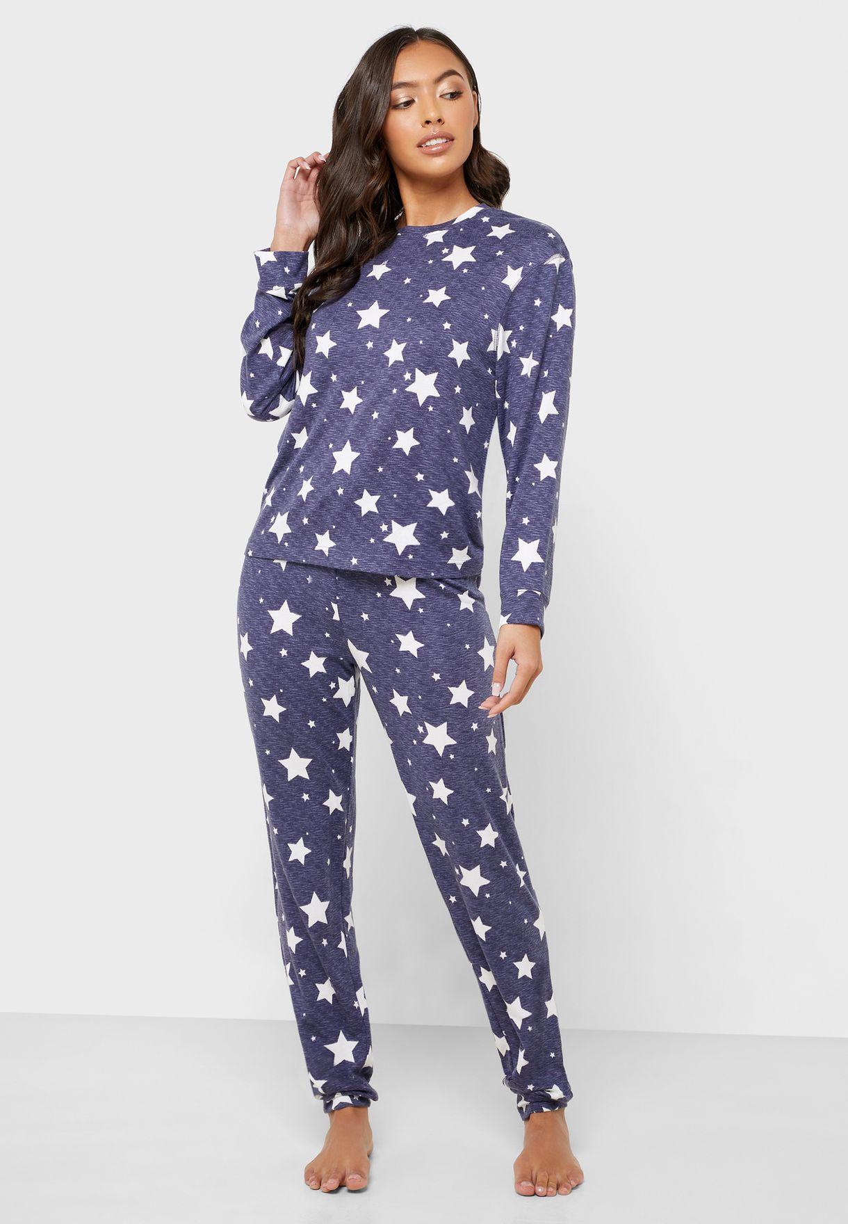 Star Print Top & Pyjama Set