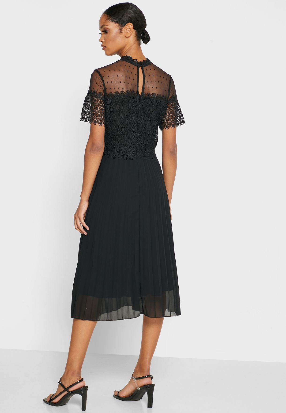 Lace Mesh Pleated Dress