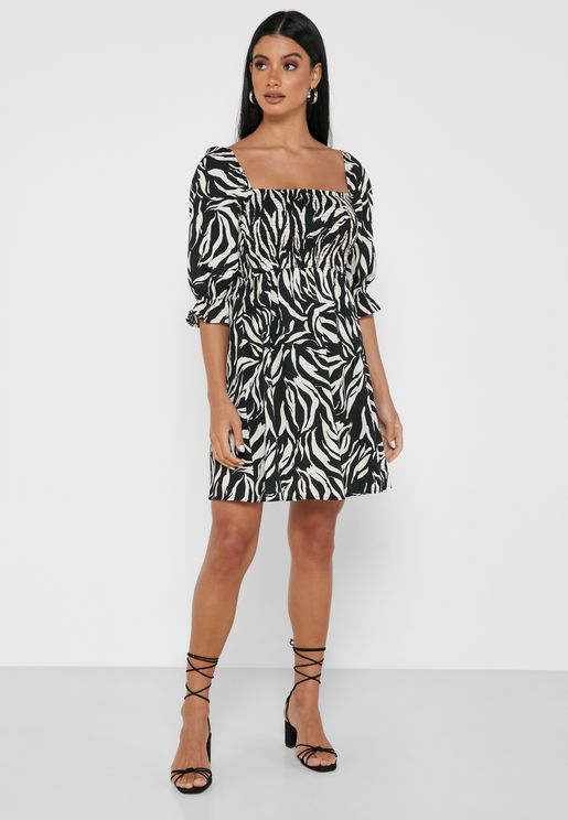 Collar Neck Printed Dress